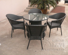 5 pcs Wicker Rattan Garden Dining Sets , Comfortable Cane Furniture transport by sea