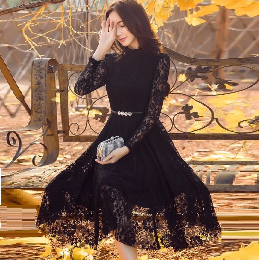 2017Autumn Fashion Ladies plus size elegant Lace ball gown Dress Stand collar pinched waist cultivating party Dress S-XXXXL98627