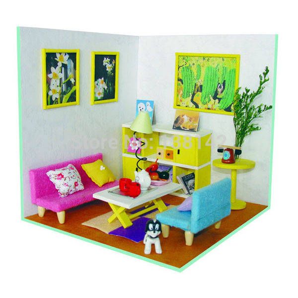 Cute Living Room Dollhouse Miniature Diy Doll House Miniature Wooden  Building Model Furniture Model Child Toys