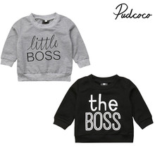 신생아 유아 Kids Baby Boy Girl 100% 면 BOSS 문자발송 & # 긴 Sleeve Top T 풀 오버 Sweatshirt Warm Casual 옷 0 -5 톤(China)