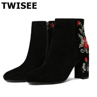 women mid calf boots pumps hot selling sapatos femininos autumn square heels 8.5 cm round toe woman casual shoes embroider