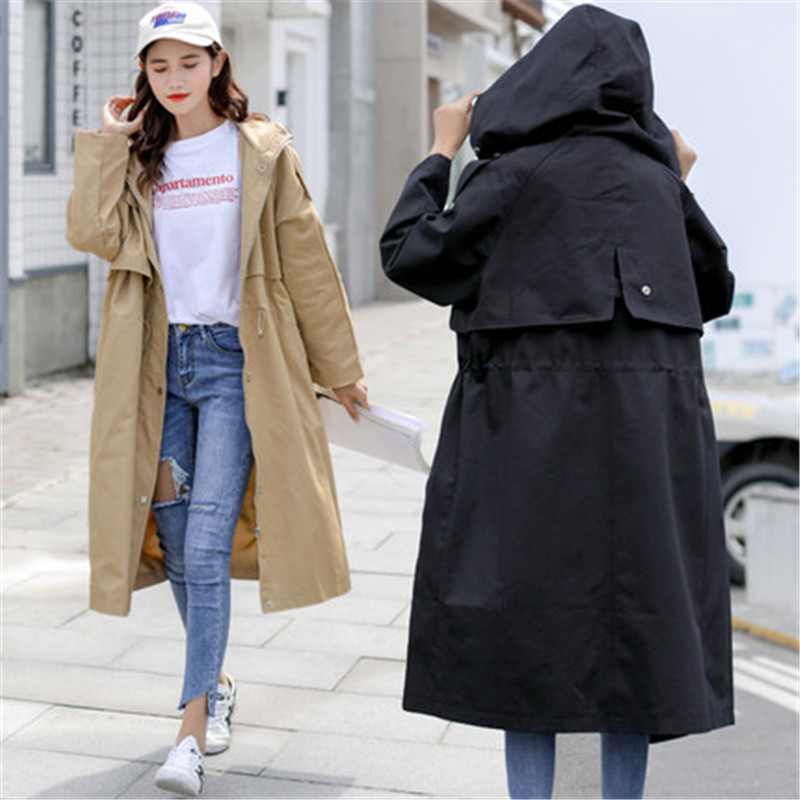 2019 New Windbreaker Long section Korean Spring Autumn chic Clothing Loose   Trench   Coat for Women Outerwear X353