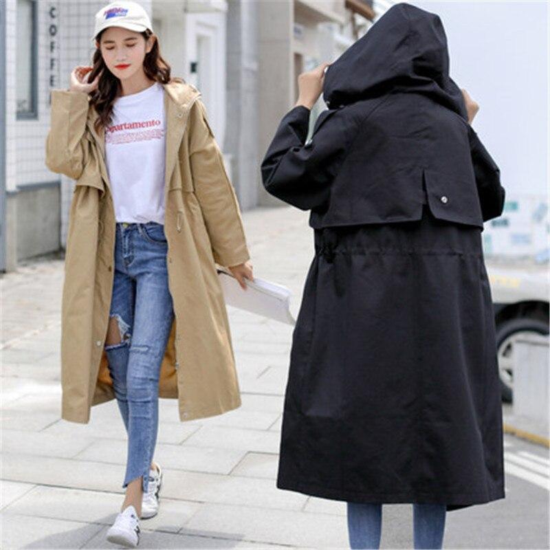 2019 새로운 윈드 브레이커 긴 섹션 한국어 봄 가을 세련 된 의류 느슨한 트렌치 코트 여성 겉옷 x353-에서트렌치부터 여성 의류 의  그룹 1
