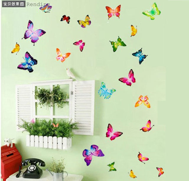 Colourful Butterfly Flower Cartoon Wall Sticker Home Decal Decoration Wallpaper Kids Rooms Decol DIY Baby Poster