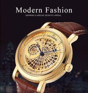 Image 2 - Luksusowa marka szkielet złoty automatyczny mechaniczny mężczyzna zegarek brązowy skórzany pasek luksusowa moda zegarek montre homme