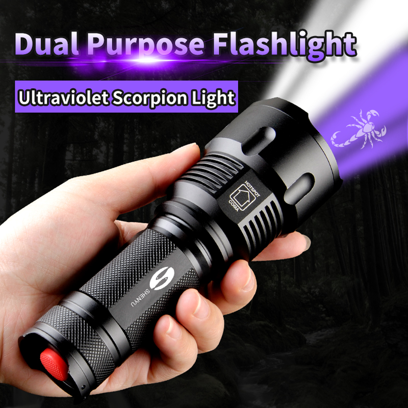 SHENYU UV Linterna 395nm Ultraviolet Scorpion T6 Torch Lámpara Ultravioleta LED 26650 Zoomable Impermeable 2000LM 2 Modo de Luz
