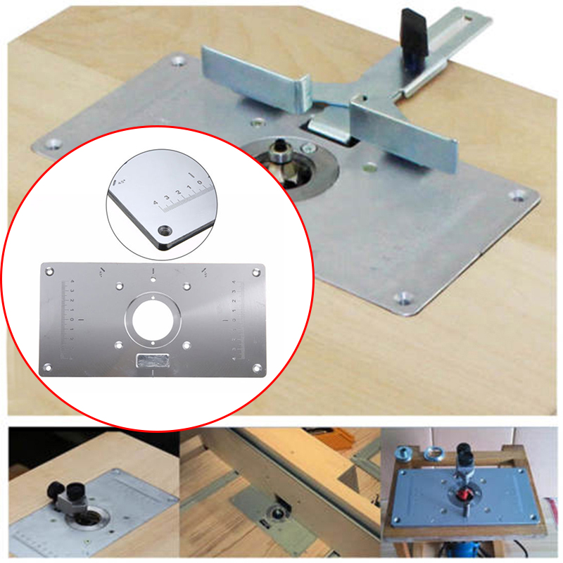 Fits Woodworking Benches Aluminum Router Table Inserts Plate With 4 Rings Screws