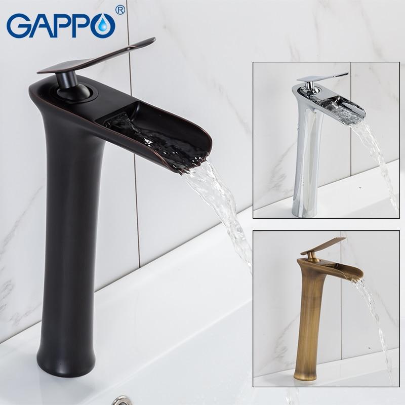 GAPPO havza musluklar pirinç uzun boylu şelale banyo musluk su musluklar şelale havzası lavabo musluğu musluklar armatur