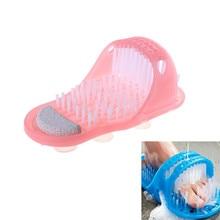 Hot Plastic Bath Shoe Shower Brush Foot Scrubber Shower Brush Massager Slippers Blue for Feet Pumice Foot Brush