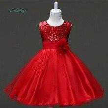 Tonlinker 2018 Summer Girl princess party flower dress Christmas Teenage Dress Princess Wedding Party sequins Sleeveless dress