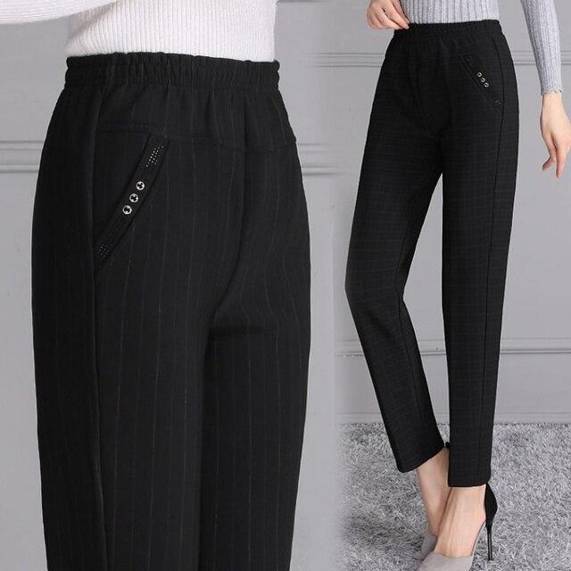 2019 New Spring/Autumn Plaid Pants High Waist Full Length Black Elastic Waist Slim Fitness Straight Trousers Plus Size 3XL 4XL