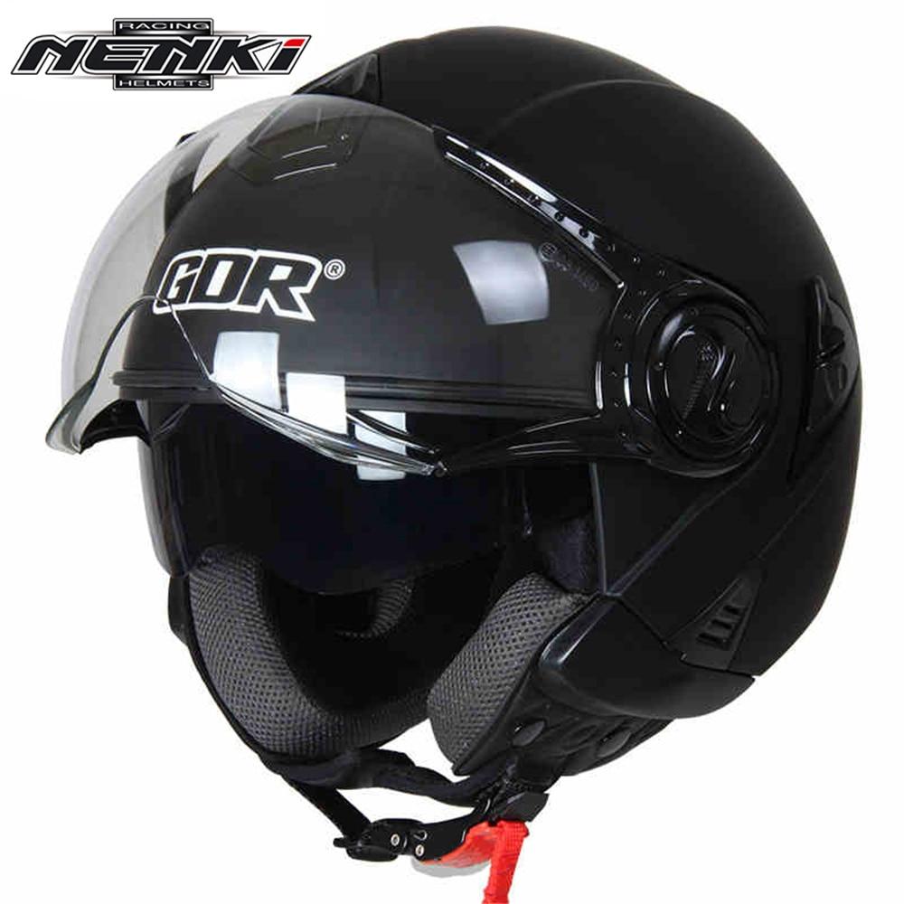 ФОТО NENKI Motorcycle Open Face Helmet Vintage Style Cruiser Touring Chopper Street Bike Scooter Helmet DOT with Clear Lens Shield