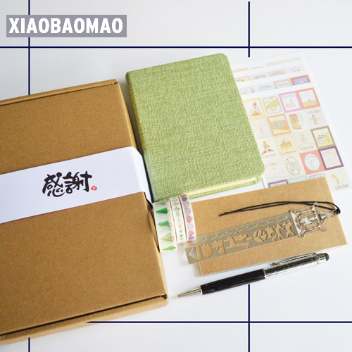 Praktis Alat Tulis Kotak Hadiah dengan Notebook Bolpoin Washi Tape Bookmark Sticker Lucu Korea Cotton Cover Notebook
