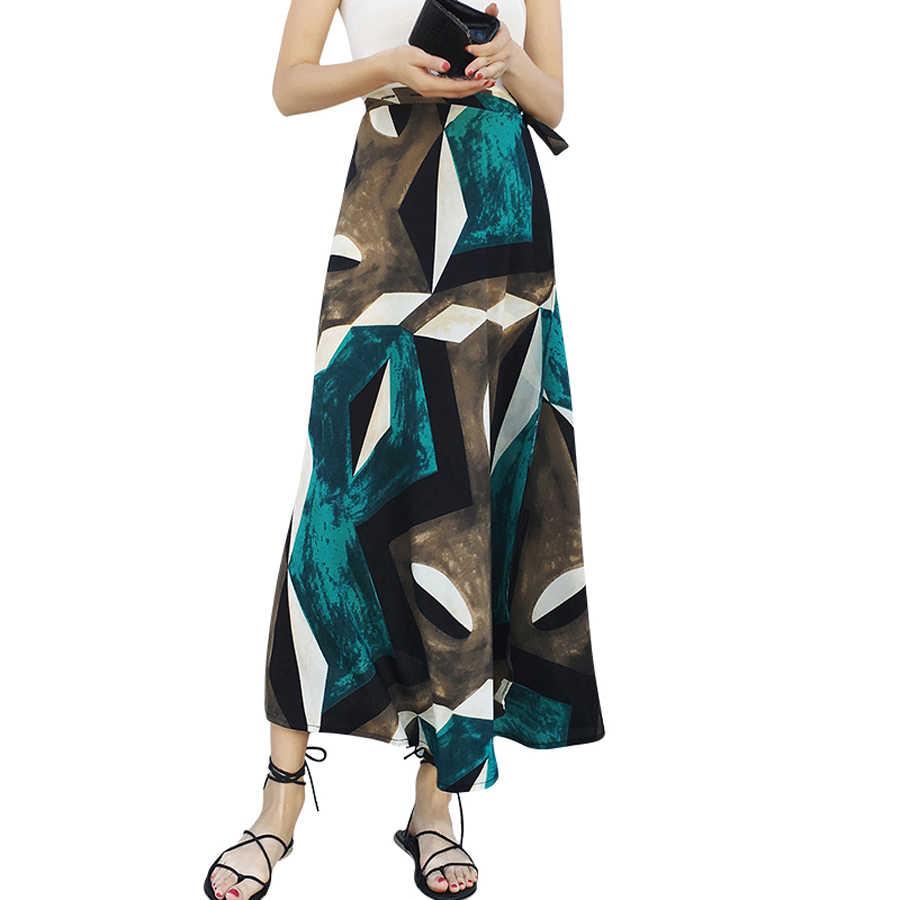 1c03acc41937 Tie Beach Chiffon Long Wrap Skirt Ruffle Vintage Split Boho Floral Flower  Shirt High Waist Faldas