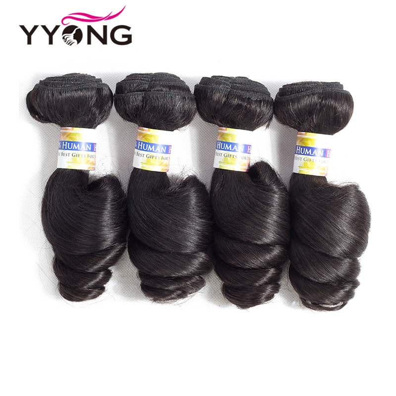 Yyong Hair 4 Bundles Brazilian Loose Wave Hair 8-26 Inch Can Be Colored Non Remy Human Hair Weave Brazilian Hair
