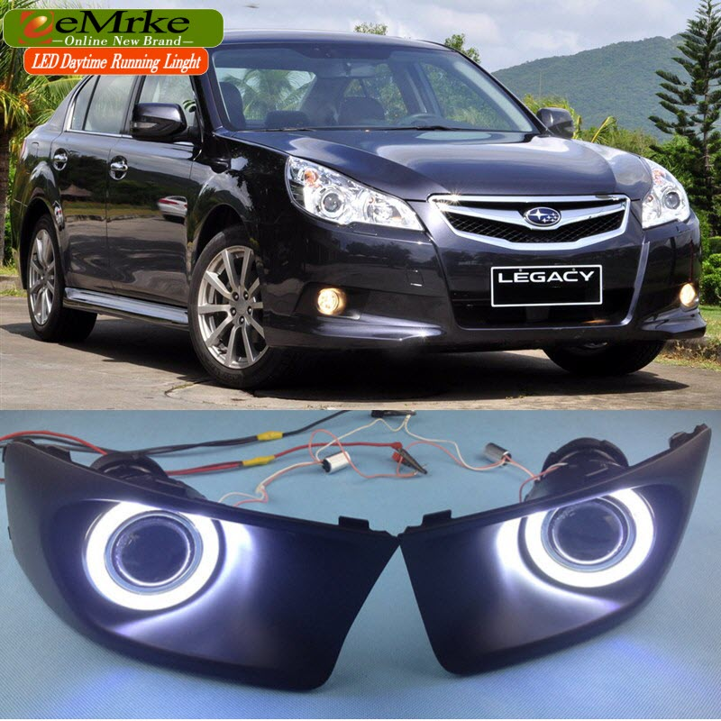 eeMRke FOR Subaru Legacy Wagon / Sedan 2010 2011 2012 Angel Eye Fog DRL Daytime Running Lights with Halogen Bulbs H11 55W eemrke daytime running lights for mazda6 sedan wagon led angel eye drl halogen h11 55w fog lamp kits
