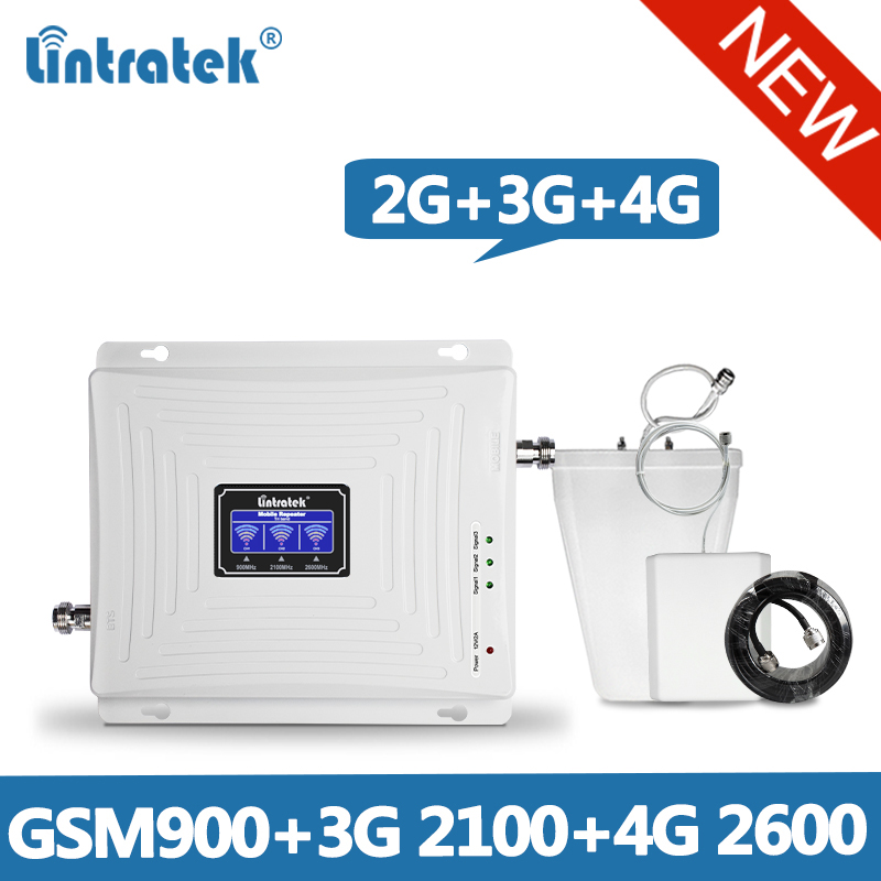 Lintratek Repeater 2G 3G 4G GSM Signal Booster 900 2100 2600 Tri Band Ampli KW20C-GWL@6.1