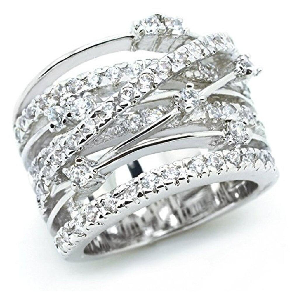 Новинка, кольца из розового золота для женщин, полностью Кристальное обручальное кольцо из Стразы для дам, Женские аксессуары, кольца на палец, ювелирное изделие, подарок - Цвет основного камня: 3