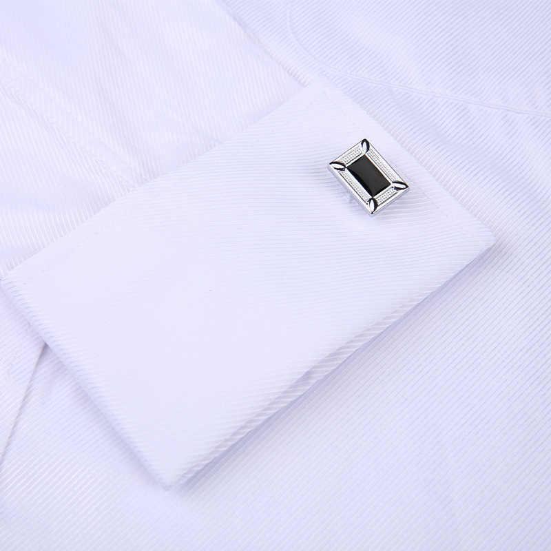 Hombres gemelos franceses camisa 2019 nueva camisa de rayas de hombre de manga larga Casual Hombre marca Camisas Slim Fit francés Cuff camisas de vestir