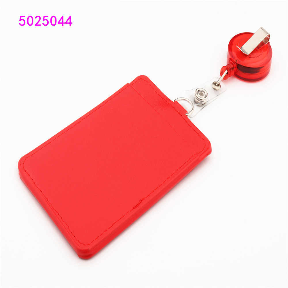 PU Leather Two-sided card sleeve ID Badge Case Clear Bank Credit Card Badge Holder Accessories Reels  Key Ring Chain Clips