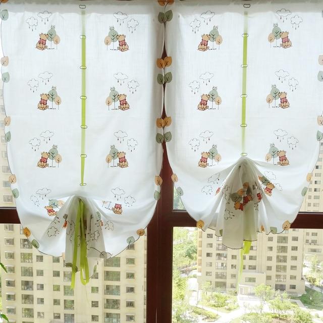 Cute Winnie Bear Balloon Curtain Cloth Kitchen Pull Up