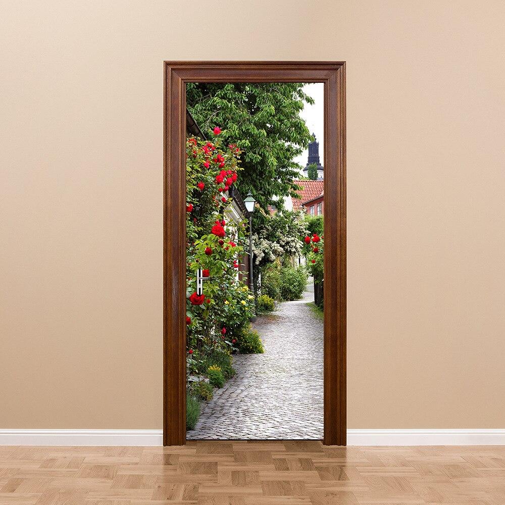 Diy 3d Door Stickers Rose Town Pattern For Kids Room Door