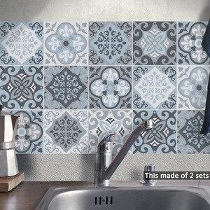 Image 5 - Funlife الأزرق بلاط الجدار ملصق ، ملصقات بلاط ذاتية اللصق للمطبخ زخارف اللوحات أثاث مقاوم للماء ديكور الحمام