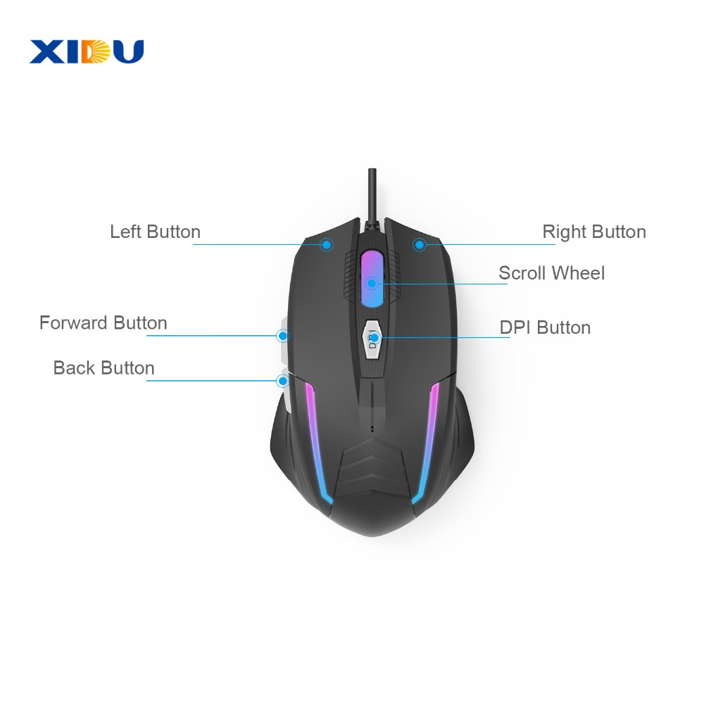 Image 2 - XIDU Mouse USB 3.0 Wired gaming Mouse Adjustable Optical Computer Mouse For Laptop pc with LED Light-in Mice from Computer & Office
