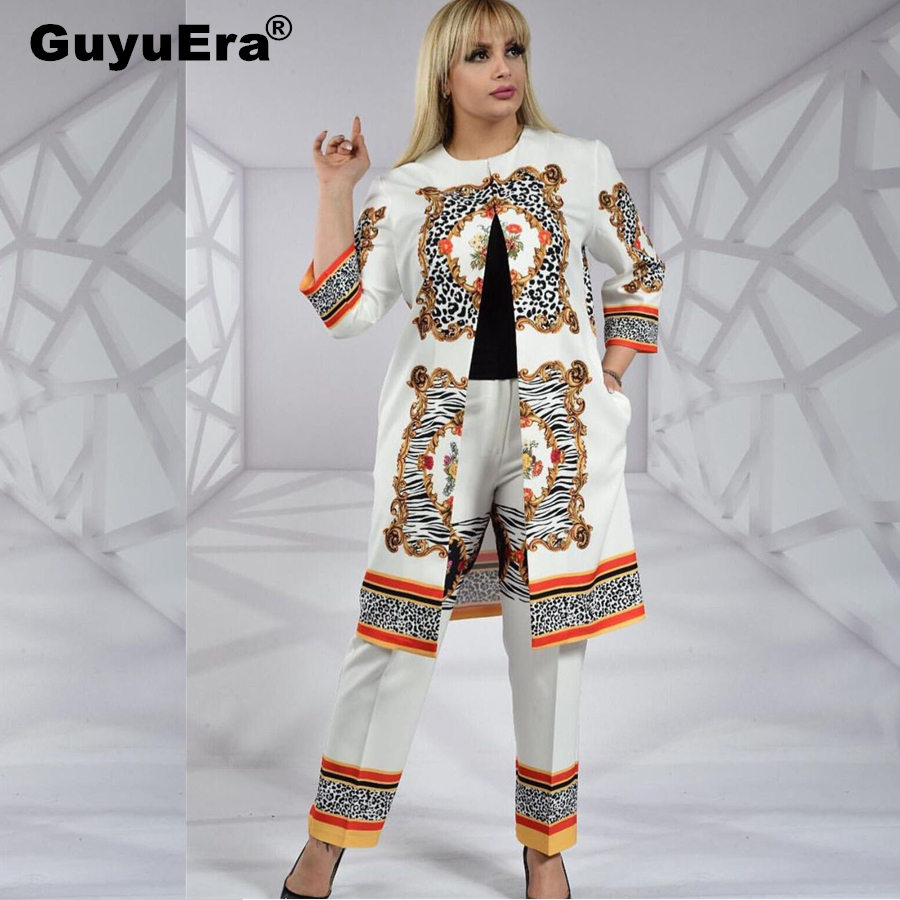 GuyuEra New African Dresses for Women Symmetrical Printing Large Size Two-piece