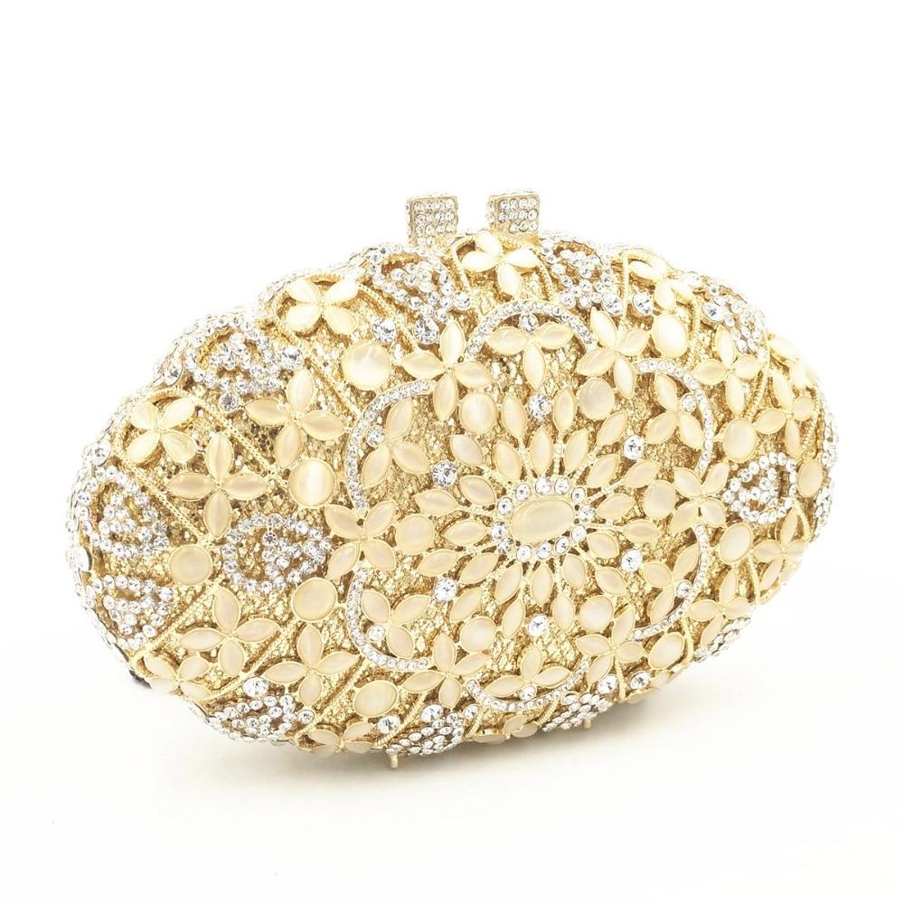 Or Dur Luxe Sac Sacs Main D'embrayage Gold Cas Noce Femmes Cristal Soirée À Embrayages Évider De Dames Strass Mariée pqBH5q