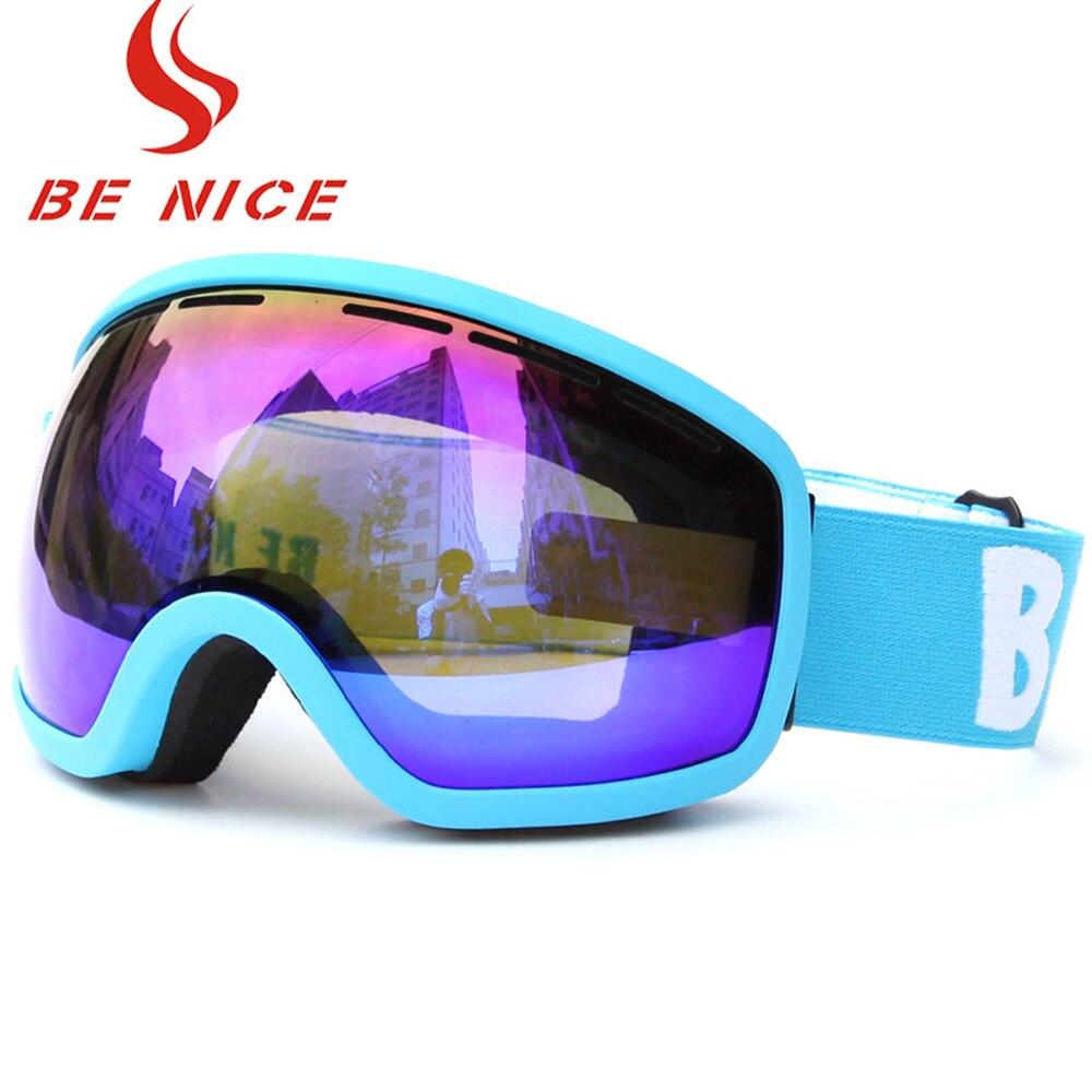 Prix pour Lunettes de ski Snowboard Patinage Lunettes UV Protection Anti-brouillard Large Sphérique PC Lentille Anti-slip Strap Casque Compatible