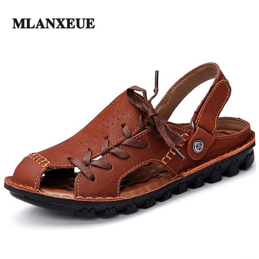 MlLANXEUE Leather Baotou Men Sandals Lace Up Men Shoes Beach Breathable Slippers Comfortable Large Size Flip Flops