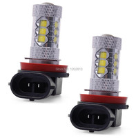 2x Bombilla Faro Headlight H8 H11 80W LED Super Blanca Lights Luz De Niebla Driving Coche