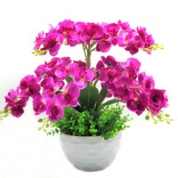 butterfly orchid decorative flowers & wreath Artificial flower bonsai Set fake flower plant trees with vase free shipping