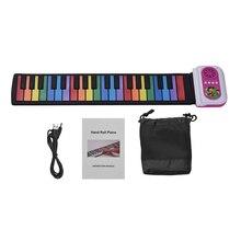 37-клавиша Портативный наматывания пианино кремния электронная клавиатура красочные ключи Встроенный динамик музыкальная игрушка для Для детей