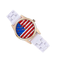 Automatic Women America Flag Wristwatch Ladies Quartz Simulated Ceramic Dress Watch Top Quality Woman Waterproof Clock
