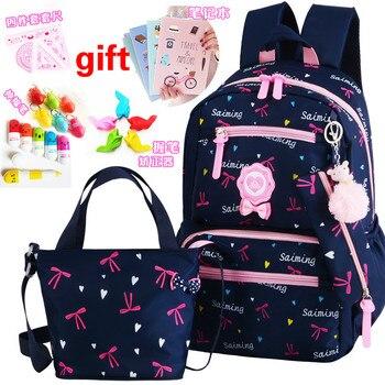 Детские школьные сумки для девочек-подростков, рюкзак с принтом, школьные рюкзаки, 2 шт./компл., детский дорожный рюкзак, школьные сумки, mochila ...