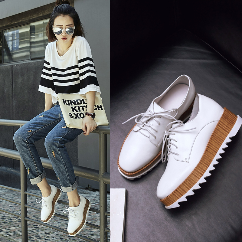 Platform shoes for Women 5 cm Thick soles Genuine leather Non-slip Casual shoes Size 34-39 Fashion Lofers Party shoes Woman M1