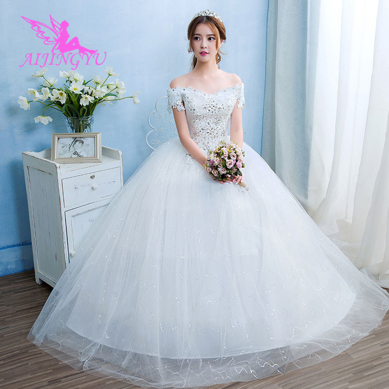 AIJINGYU 2018 Girl Free Shipping New Hot Selling Cheap Ball Gown Lace Up Back Formal Bride Dresses Wedding Dress WK497