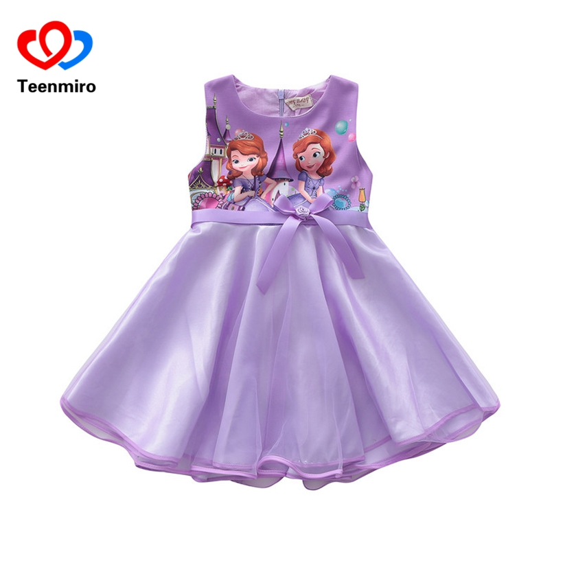 Cute Baby Girls Dress 2018 New Kids Sleeveless Princess Sofia Dresses for Party Cartoon Children's Clothing Girl Summer Dress 2T kids summer dresses for girls dress 2016 style fashion sleeveless cute voile party and wedding baby kids white dress