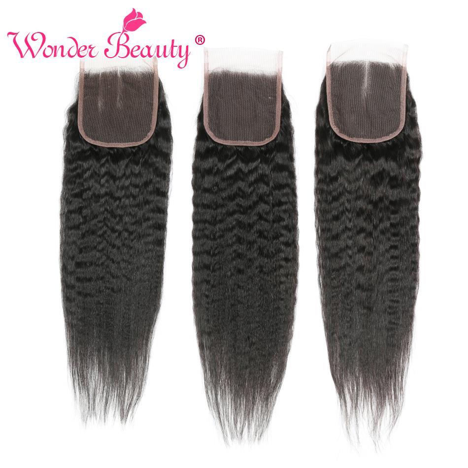 Merveille beauté brésilien gratuit/trois/moyen partie cheveux crépus droit cheveux humains dentelle fermeture Non Remy 4x4 dentelle fermetures livraison gratuite
