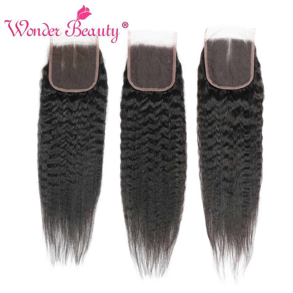 Wonder Beauty Brazilian Free/Three/Middle Part Hair Kinky Straight Human Hair Lace Closure Non Remy 4x4 Lace Closures Free Ship
