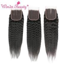 Maravilha beleza brasileira livre/três/parte do meio cabelo kinky em linha reta fechamento do laço do cabelo humano não remy 4x4 fechamentos de renda navio livre