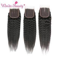 Wonder Beauty brazylijski bezpłatne/trzy/środkowa część włosów perwersyjne proste włosy ludzkie zamknięcie koronki nie Remy 4x4 zamknięcie koronki s uwalnia statek