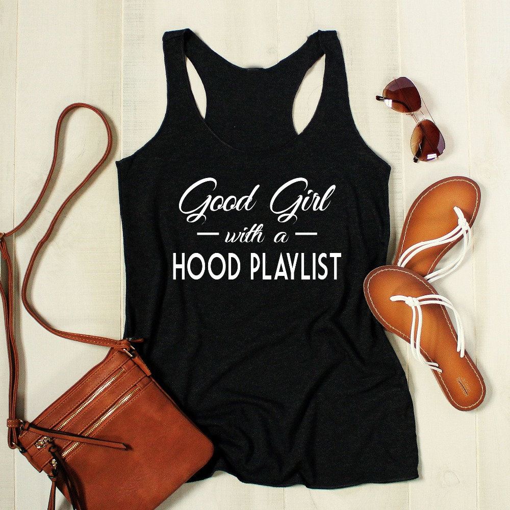 Good Girl With A Hood Playlist Workout Tank women fashion slogan party street tops vest undershirt singlet sleeveless garment image