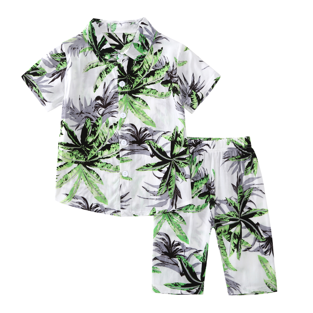 2-7Y Kids Baby Boys Clothing Sets Kids Sets Kids Clothes Cute Coconut Tree Print Boys Summer Clothes Top+Pants In Sonkpuel