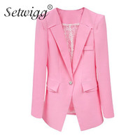 XXXL Female Blazer Pink Rosa Color Mulheres 2014 Women Suit Ladies Blazers And Jackets Plus Size