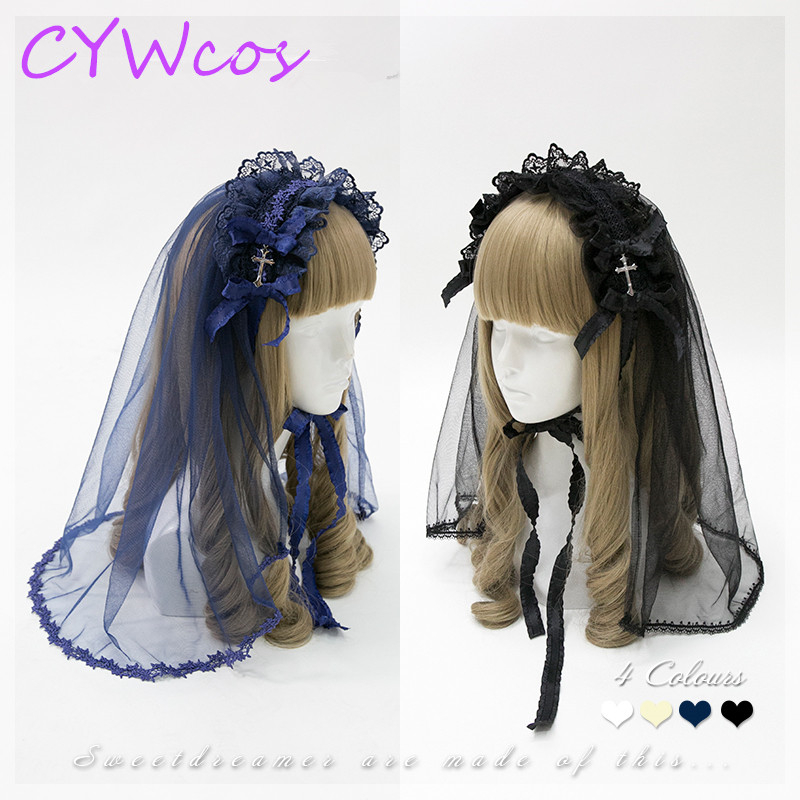 Gothic Lace Headband Cross   Headwear   Bow Hairpin Vintage Flowers Veil Cosplay Accessories Lolita Headdress Four Colors Available