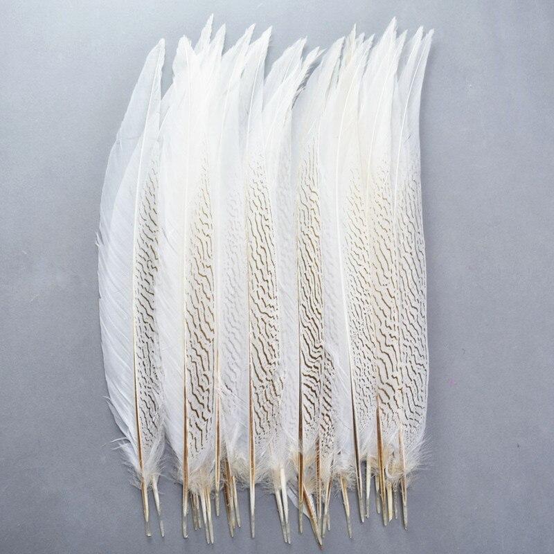 Commercio all'ingrosso Naturale Argento Fagiano Piume di Coda 10-80CM Bianco Piume di Fagiano per Artigianato Costume Argento Piume di Pollo Plume