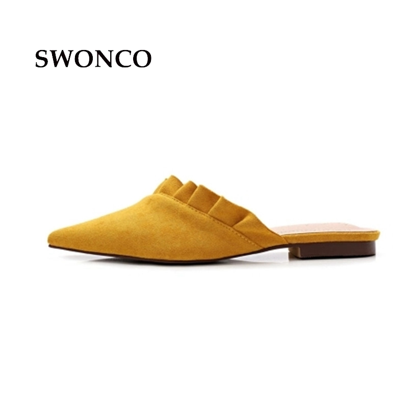 SWONCO Women's Slippers 2018 Summer Pointed Toe Leather Ladies Shoes Slippers Women Summer Beach Sandals Low Heel Woman Shoes swonco women s slippers half shoes candy color breathable female slipper 2018 woman slippers summer sandals ladies beach shoes
